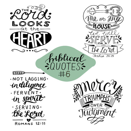 Collection 4 with 4 Bible verses. Me and my house we will serve the Lord. Mercy. Biblical background. Christian poster. Modern calligraphy Scripture print Motivational quotes Ilustração