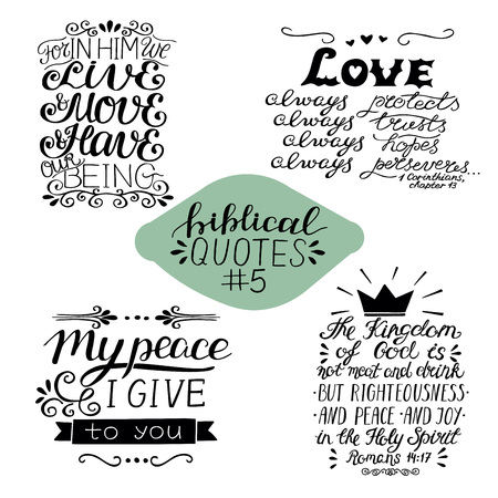 Collection 4 with 4 Bible verses. My peace I give to you. Love always. The Kingdom of God. Biblical background. Christian poster. Modern calligraphy Scripture print Motivational quotes