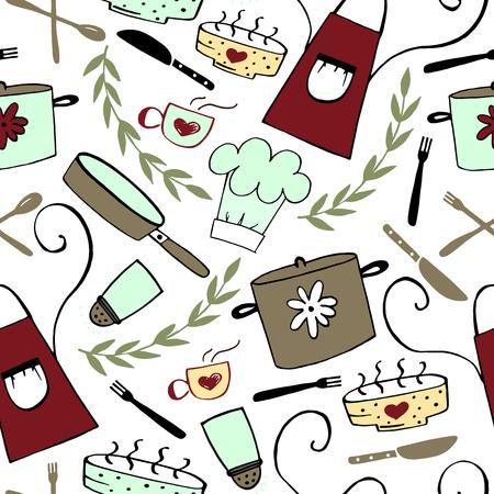 Seamless pattern with kitchen accessories. Food background. Restaurant menu