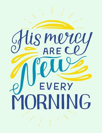 Letras de mano con versículo bíblico Su misericordia son nuevas cada mañana. Ilustración de vector
