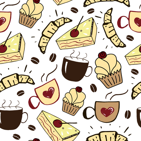 Seamless pattern with cups, cakes and croissants. Food background. Restaurant menu