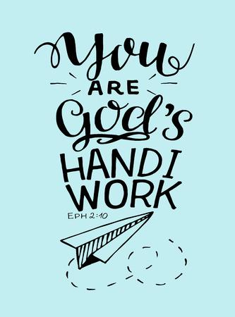 Letras de mano con verso de la Biblia Eres obra de Dios. Ilustración de vector