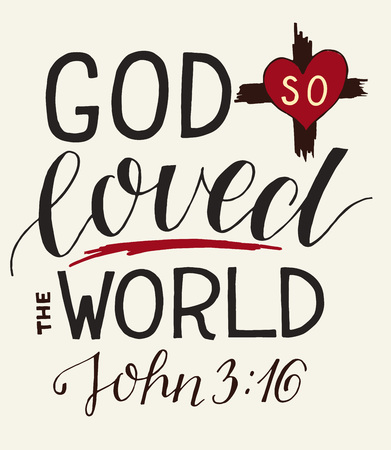 Golden Bible verse John 3:16 For God so loved the world, made hand lettering with heart and cross.