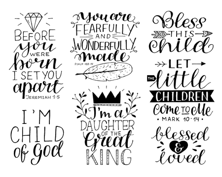 7 hand-lettering motivational bible quotes for kids and baby