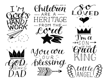 Set of 7 hand lettering baby quotes So loved, , You are our blessing. God is my Dad.