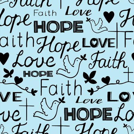 Seamless pattern with hand lettering words Faith, hope and love with cross and hearts.