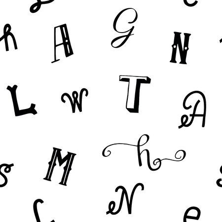 Seamless pattern with black letters. Alphabet print Ilustrace