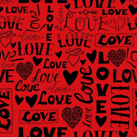 Seamless pattern with words Love, hearts and arrows