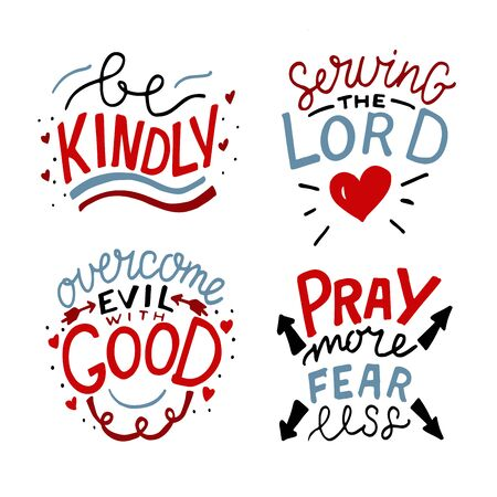 Set of 4 Hand lettering christian quotes Be kindly. Serving the Lord. Overcome evil with good. Pray more, fear less.