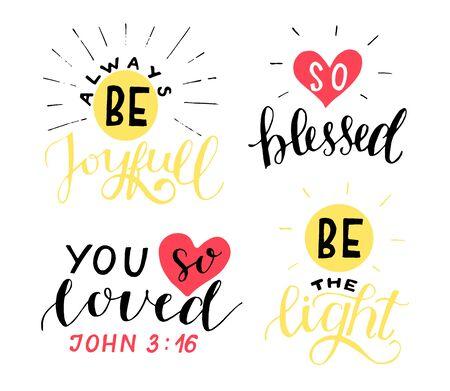 Ensemble de 4 citations chrétiennes de lettrage à la main Soyez joyeux. Vous avez tellement aimé. Béni. La lumière. Vecteurs