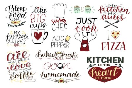 14 hand-lettering quotes about food, coffee, tea, kitchen Homemade. Add paper. Bless food. Super chef. Just cook it. I love pizza.