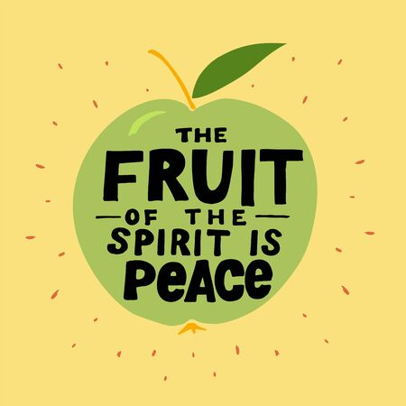 Hand lettering The fruit of the spirit is peace made on the apple.