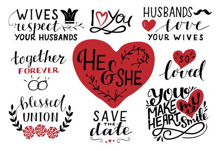 Set of 9 hand lettering quotes about he and she. Save the date. Together forever. Blessed union. So loves. Husband. Wife. Banque d'images - 132108908