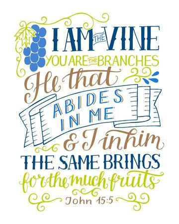 Letras de mano con verso de la Biblia Yo soy la vid, ustedes son las ramas.