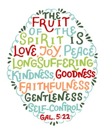 Hand lettering with bible verse The fruit of the Spirit is love, joy, peace.