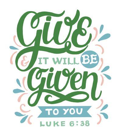 Lettrage à la main avec verset biblique Donnez et il vous sera donné
