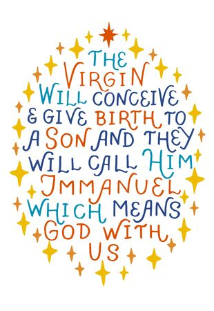 Christmas background with lettering And give bring to a Son and they call him Immanuel