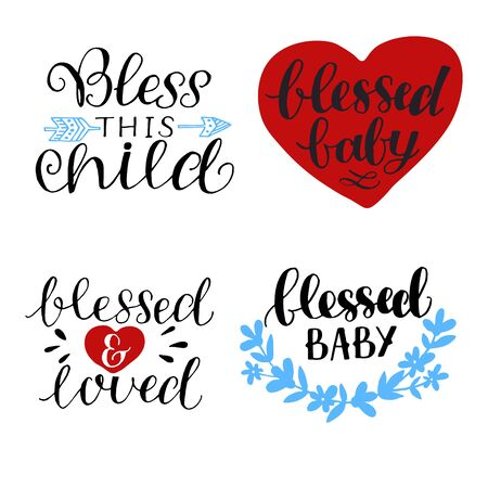 Hand lettering Bless this child. Blessed and loved. Biblical background. Christian poster. Scripture print. Quote. Modern calligraphy
