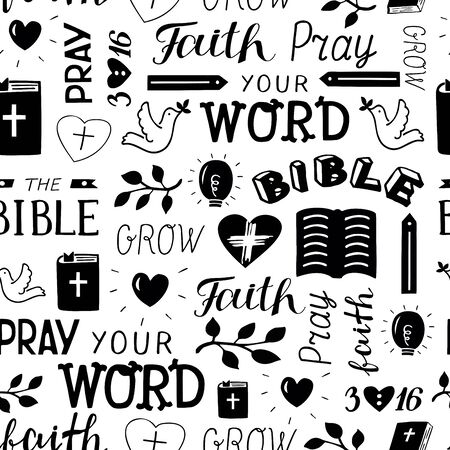 Seamless christian pattern with hand lettering words Faith, pray, Bible, grow, your Word, 3 16 Illusztráció