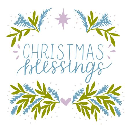 Holiday card, made hand lettering Christmas blessing. Greeting of season.Biblical background. Christian poster. Modern calligraphy