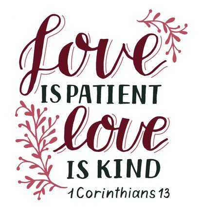 Lettrage à la main avec verset de la Bible L'amour est patient, gentil.