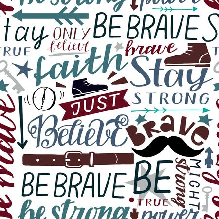Seamless christian colorful pattern with hand lettering words Faith, be brave, strong, stay, believe, true