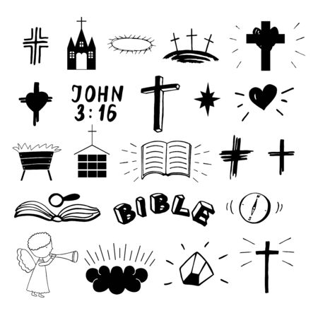 Set of 22 christian icons . Ministry . Biblical background. 向量圖像