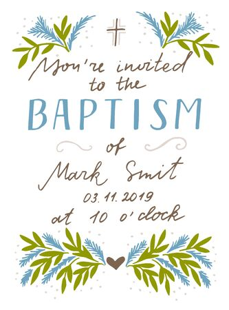 Christian hand lettering quotes Baptism. Biblical background. Greeting card. Scripture print. Quote. Invitation Illusztráció