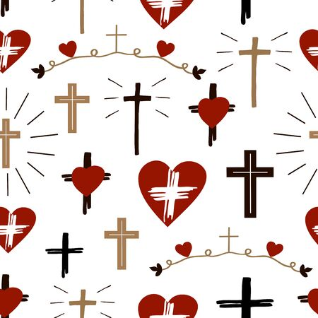 Seamless christian colorful pattern with crosses and hearts.