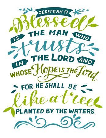 Ręka napis Błogosławiony człowiek, który ufa Panu. Tło biblijne. Plakat chrześcijański. Druk Pisma Świętego. Motywacyjny cytat. Nowoczesna kaligrafia