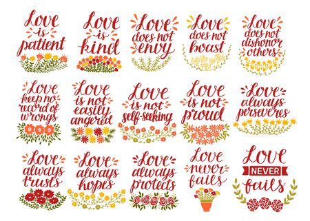 Set of 15 hand lettering quotes with Bible verse Love is patient, kind, never fails. Illusztráció
