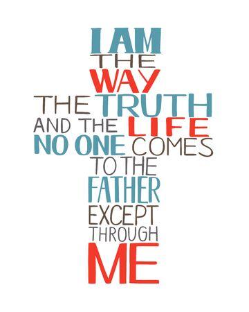 Lettrage à la main Je suis le chemin, la vérité et la vie, en forme de croix. Vecteurs
