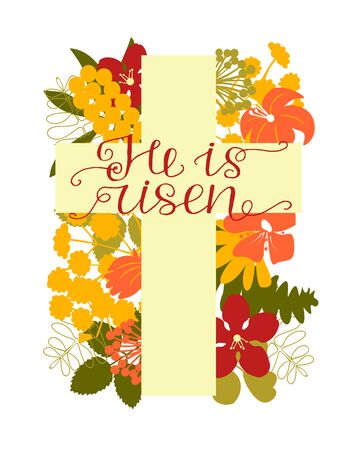 A Cross with flowers and hand written He is risen. Biblical background. Sunday. Christian poster. New Testament. Scripture print. Graphics