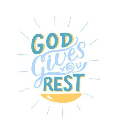 Coloring Hand lettering God gives you rest. Ilustracja