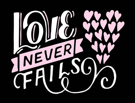 Hand lettering Love never fails made with hearts Illusztráció