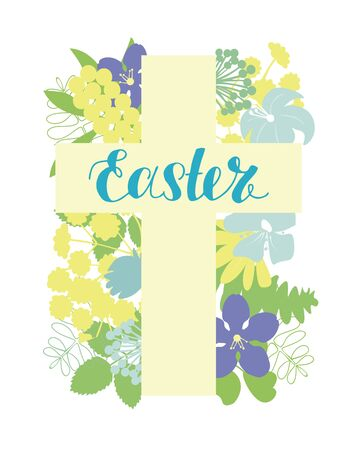 A Cross with flowers and hand written Easter. Biblical background. Sunday. Christian poster. New Testament. Scripture print. Graphics