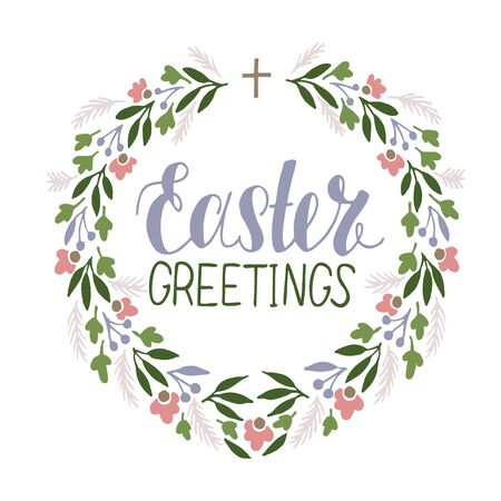 Hand lettering Easter Greetings with flower wreath. Biblical background. . Sunday. Christian poster. New Testament. Scripture print. Graphics