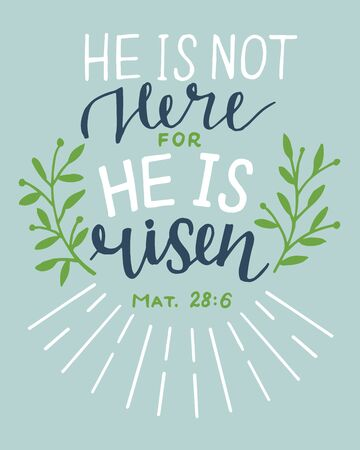 Hand lettering Bible Verse He is risen. Biblical background. Sunday. Christian poster. New Testament. Scripture print. Graphics. Celebrate Easter