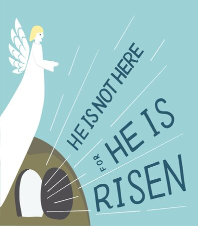 Hand lettering not here, He is risen with an open tomb and Angel. Biblical background. Celebrate Easter. Sunday. Christian poster. New Testament. Scripture print. Graphics