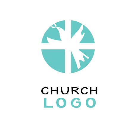 Christian church logo with dove and cross . Ministry . Biblical background. Sunday school. Scripture print Symbol