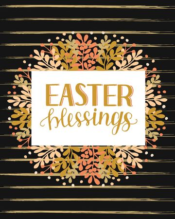 Hand lettering with inscription Easter blessings on black background 向量圖像