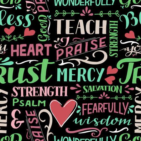 Seamless pattern with hand drawn words Mercy, Trust, Salvation, Wisdom, Psalm, Praise. Illusztráció