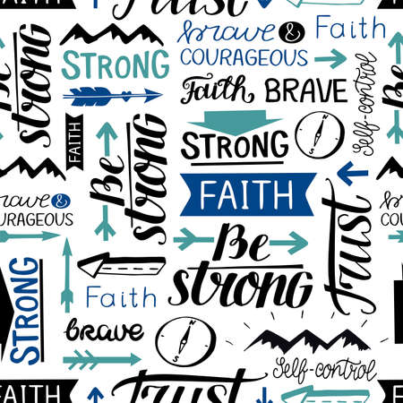 Seamless pattern with hand drawn words Faith, Strong, Brave, Trust. 向量圖像