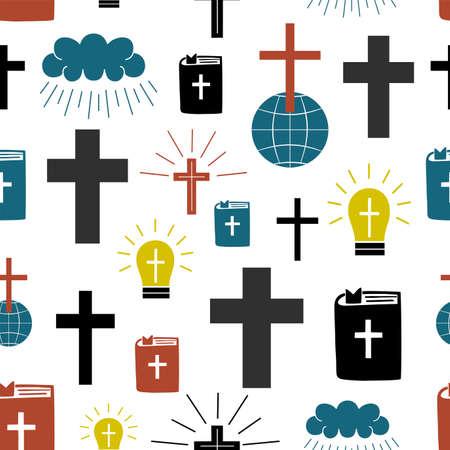 Seamless pattern with symbols Cross on globe, Bible, glowing light bulb.
