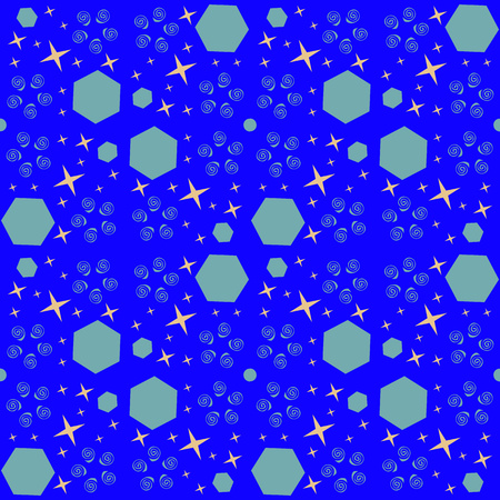 Abstract cosmic seamless pattern with blue and orange elements. Vector Illustration EPS 10.