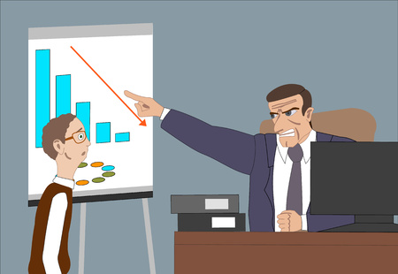 Angry boss with employee. Director worries about poor results and and point at diagram at flipchart in the office. Work space with computer. desk, plants, lamp, chair, printer for backgriund. Vector illustration Çizim
