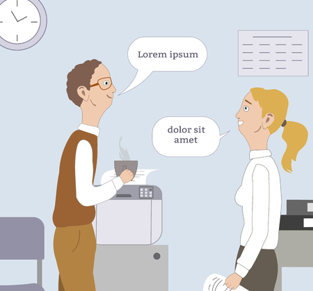 Two best friends, collegue tell about latest news, gossip, laughing at workplace. Flirtation, liking Place for your text.Vector illustration.