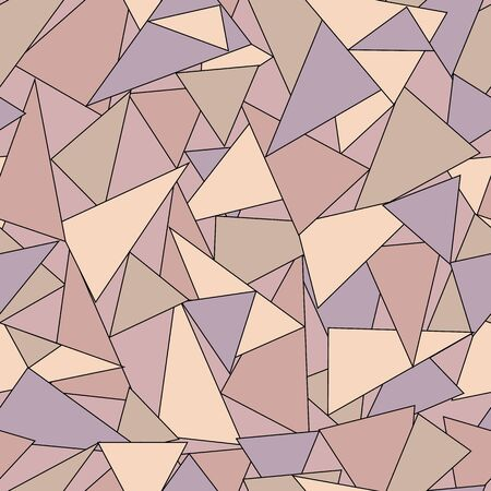 Colorful geometric abstract seamless pattern with violet, rose and brown triangles. Vector illustration.