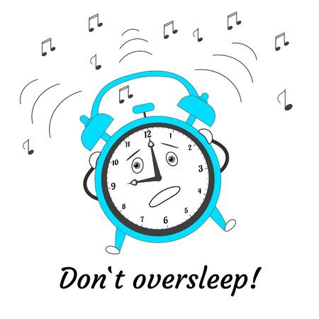Nicht verschlafen. Cartoon springender verrückter Wecker. Vektor-Illustration. Vektorgrafik