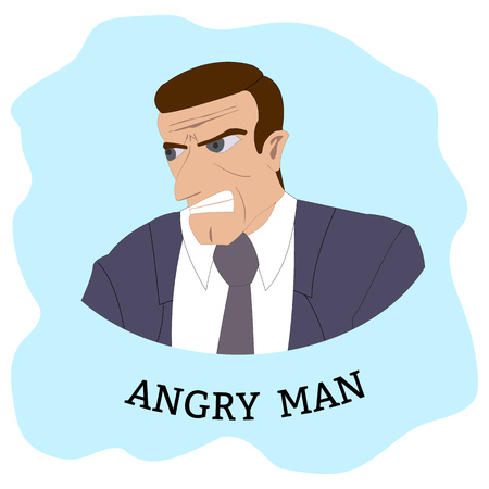 Cartoon Character. Angry man at suit coat and tie. Vector Illustration.